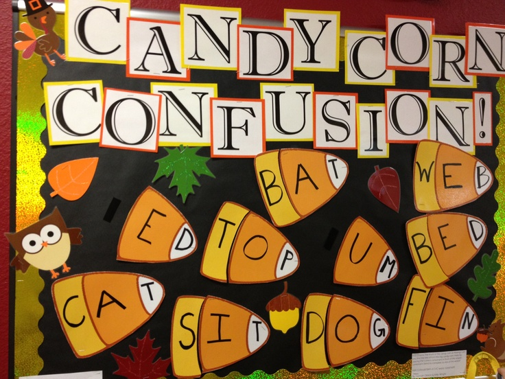 CVC candy corn bulletin board for fall