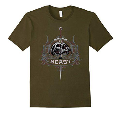 Men's Beast Biker & Heavy Metal designer t-shirt 2XL Oliv... https