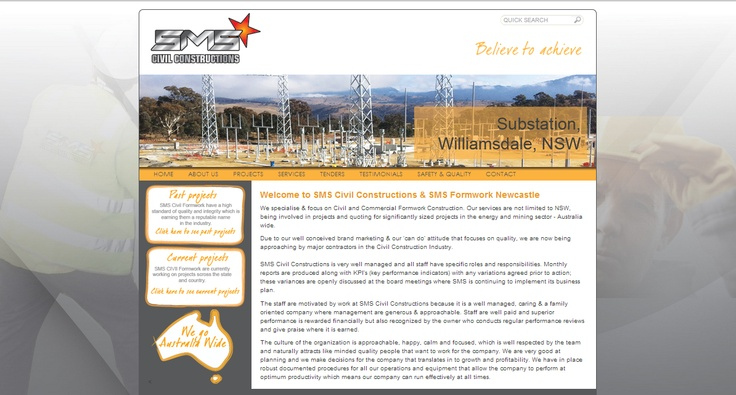 Website design by The Creative Collective Newcastle for http://www.smscivil.com.au/ SMS Civil Construction specialise & focus on Civil and Commercial Formwork Construction. Their services are not limited to NSW, being involved in projects and quoting for significantly sized projects in the energy and mining sector - Australia wide.