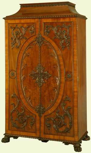 Made by William Vile in the year 1763 for the Gallery of Kensington Palace at the command of Queen Charlotte; in Queen Victoria's reign seven of the cabinets were brought back to Buckingham Palace; two were still at Windsor c.1905; fin