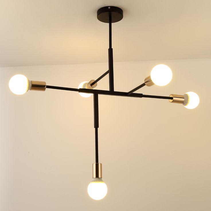 Simplicit черный и золотой люстра современные для столовой гостиной Lamparas colgantes металла Для тела люстра Освещение блеск