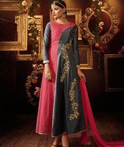 Buy Gray Georgette Ankle Length Anarkali Suit 71234 online at lowest price from huge collection of salwar kameez at Indianclothstore.com.