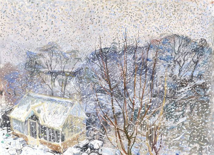 Snow Shower, March. Duncan Shanks. greenhouse painting
