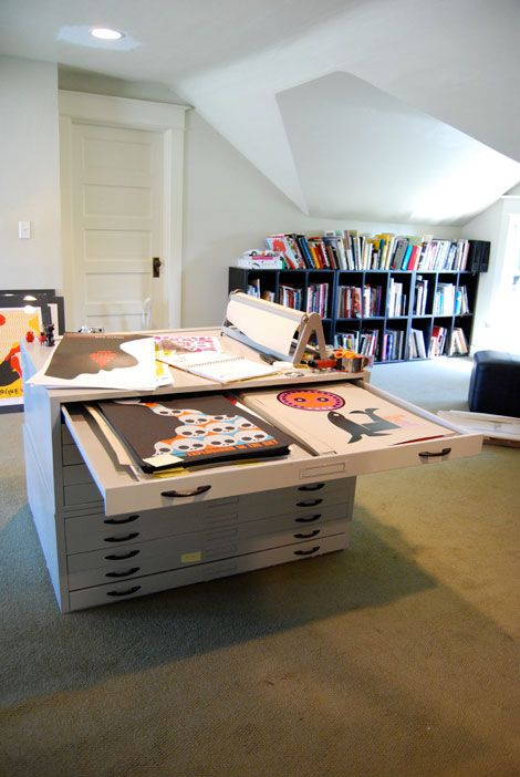 The creative offices of Dan Stiles.  Great art storage drawers!