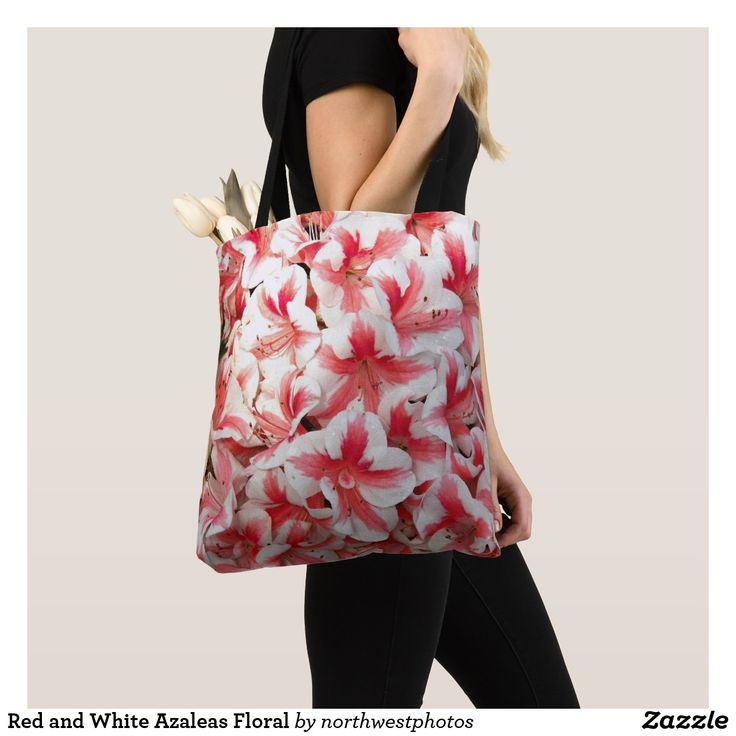 Red and White Azaleas Floral Tote Bag