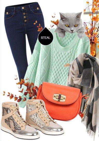 Сочетание цветов в одежде. Яркий акцент - оранжевая сумочка