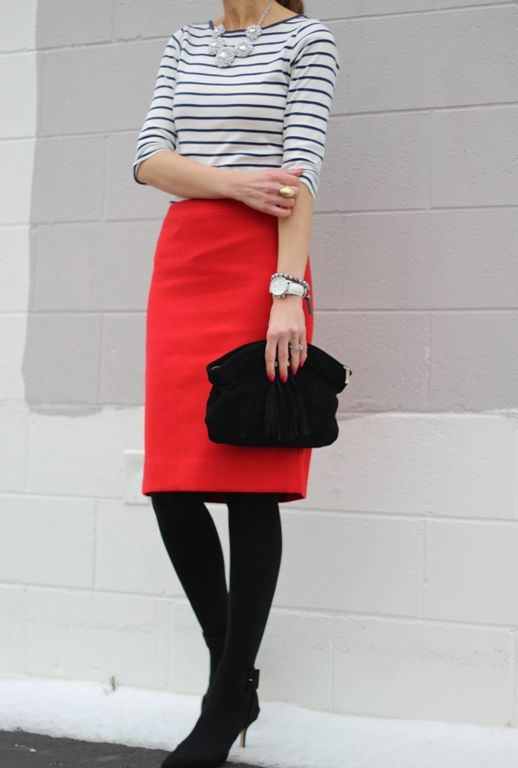 Lilly's Style: navy stripe shirt, red skirt, black tights, black boots