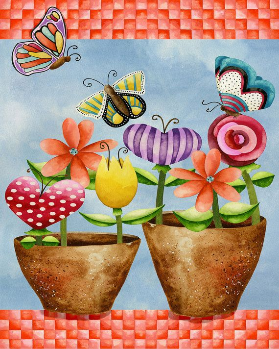 8x10 Art Print. Floral Whimsy. Artwork by Jennifer Lambein