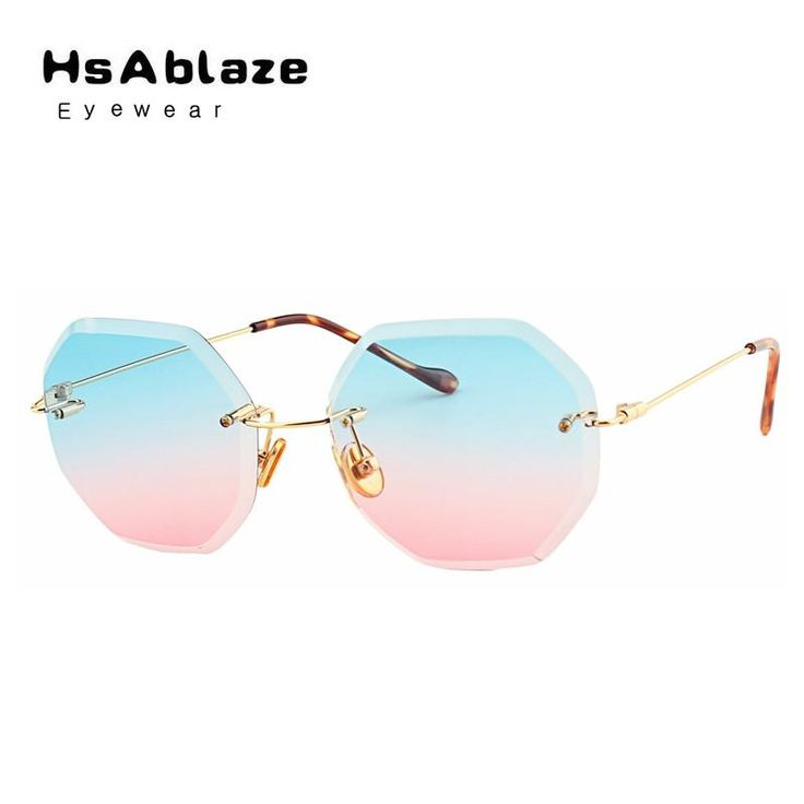 HsAblaze Eyewear Sunglass Brand Designer Women Small Size Female Clear Lens glasses Transparent Gradient Rimless Sun Glasses