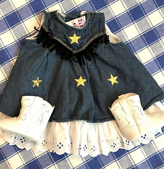 991b462fed Baby Western Dress 9M wih White Cowboy Boots Infant Rodeo Outfit Girls  Cowgirl Dress