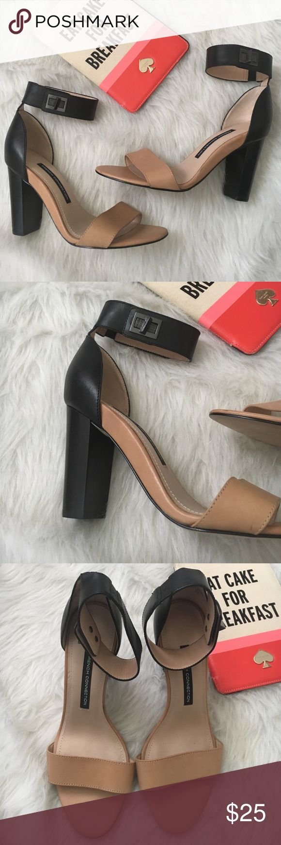 French Connection Ankle Strap Heel EUC! 😍 These are beautiful! Leather upper! Synthetic lining and synthetic sole. French Connection Shoes Sandals