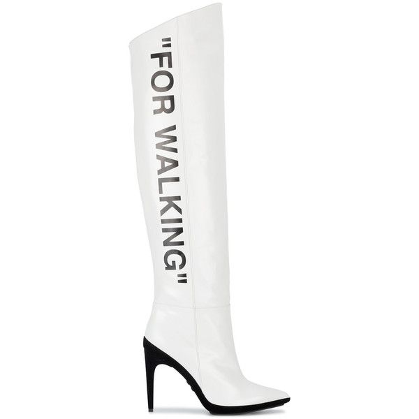 Off-White For Walking boots ($1,910) ❤ liked on Polyvore featuring shoes, boots, footwear, white, vintage white boots, over-knee boots, knee-high boots, off white boots and white boots