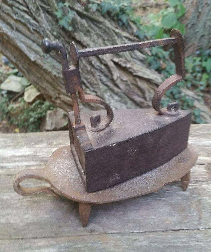 Antique Box Iron With Slug Trivet Stand cast iron