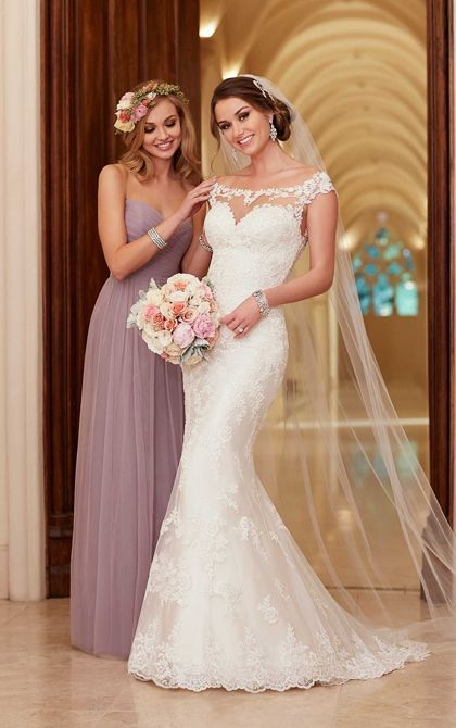 Satin Sheath Illusion Neckline Wedding Dresses | Stella York- 6118- Available at Uptown Bridal- www.uptownbrides.com- 480-242-9408