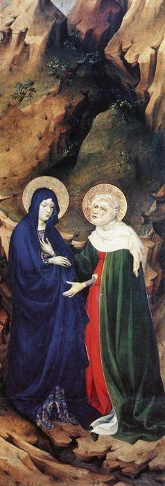 Брудерлам, Мельхиор (BROEDERLAM, Melchior) (Ок. 1328—1409) - Встреча Марии с Елизаветой (деталь створки Дижонского алтаря)