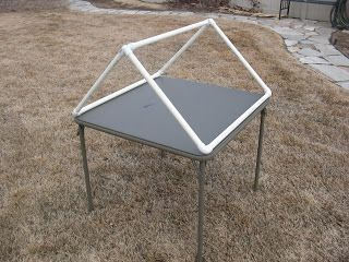 Rooftop frame from PVC for a Card Table Playhouse From: Obsessively Stitching: tent week