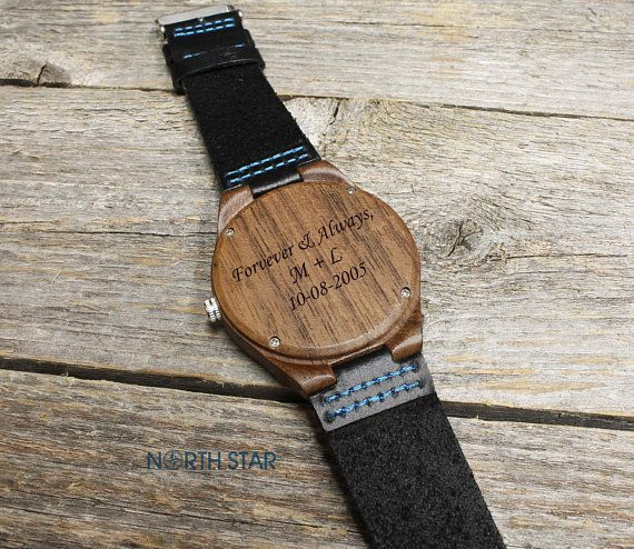 Anniversary Gifts For Men Wooden Watch Engraved Husband Gift Mens Wooden Leather Watch Mens Anniversary Gifts Father Daughter Gifts Personalized Gifts For Men
