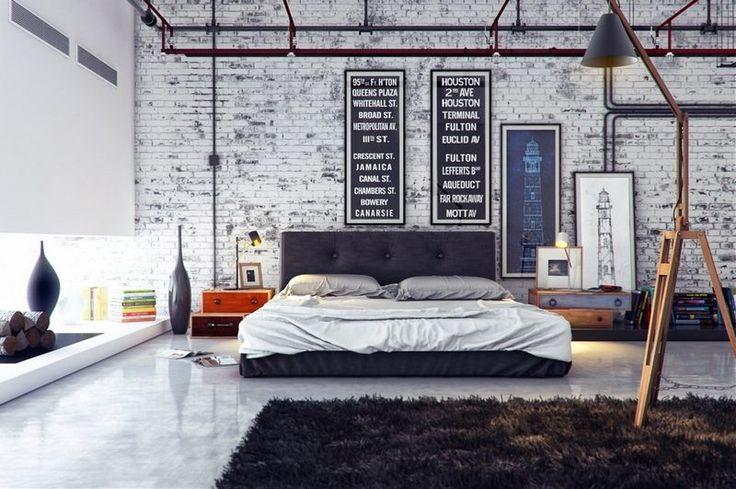 chambre-style-industriel-brique-blanche-lampadaire-cheminée-tapis-shaggy