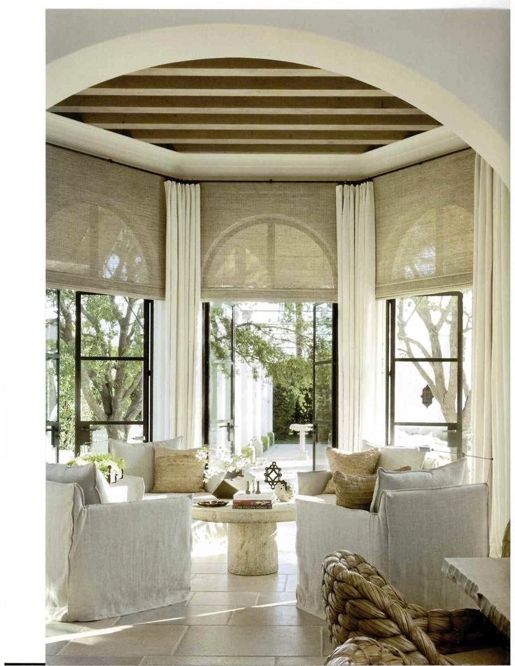 Expansive, simply adorned windows.