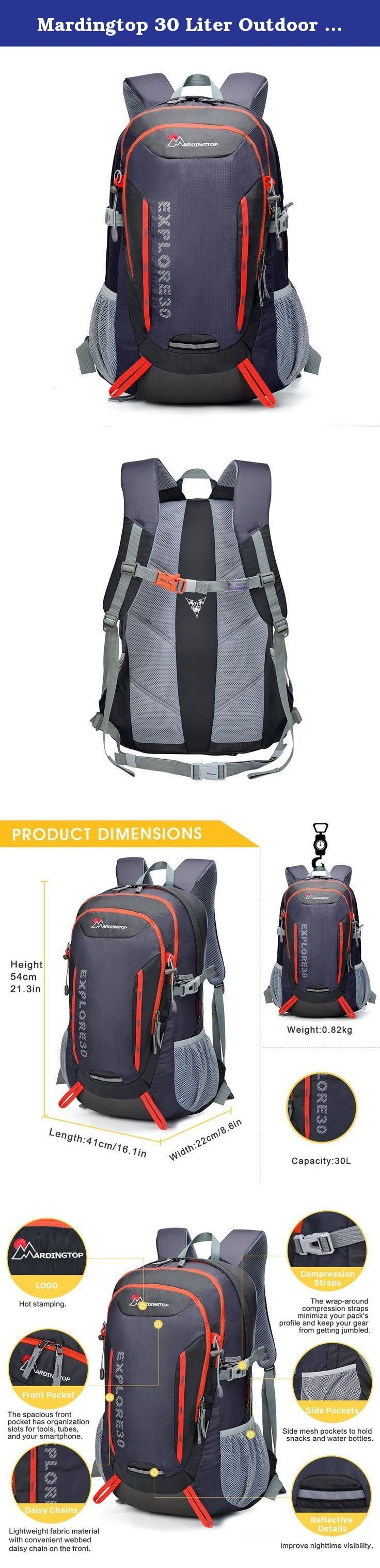 Mardingtop 30 Liter Outdoor Backpack-5943. Product Dimensions Height 54cm/21.3in Length 41cm/16.1in Width 22cm/8.6in Weight: 0.82kg / 1.8 lbs Capacity: 1.Daisy Chains:Lightweight fabric material with convenient webbed daisy chain on the front. 2.Side Pockets:Side mesh pockets to hold snacks and water bottles. 3.Sternum Strap:Adjustable sternum strap to balance your shoulder straps. 4.Whistle Buckle:Emergency whistle buckle higher safety factor. 5.Bartack Technology:Stitched with bartack...