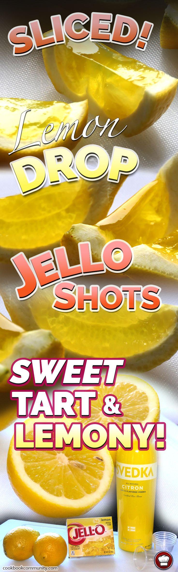 SLICED LEMON DROP JELLO SHOTS - The lemoniest jello shots you'll ever have!