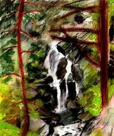 Sketch book drawing of waterfall at Thirlmere, crayon at location, heightened with watercolour in studio