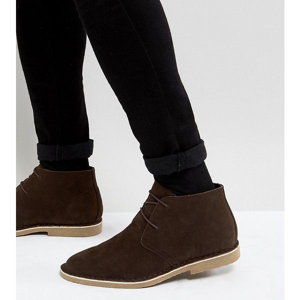 ASOS Wide Fit Desert Boots In Brown Faux Suede (1,055 HNL) ❤ liked on Polyvore featuring men's fashion, men's shoes, men's boots, brown, asos mens shoes, pointy mens shoes, mens brown desert boots, mens wide shoes and mens wide width work boots