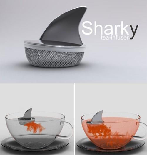 The Sharky Tea Infuser, designed in Argentina by Pablo Matteoda has a clever design that is both fun and useful. The floating tea infuser extracts tea leaves, herbs or fruit in water until completely saturated. During the waiting process, you can see the color of your tea create a beautiful effect which reminded us of the movie scenes where the ocean turned blood red