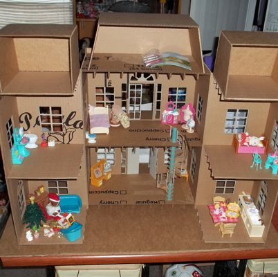 Doll House made entirely of cardboard - part 1 - PAPER CRAFTS, SCRAPBOOKING & ATCs (ARTIST TRADING CARDS)