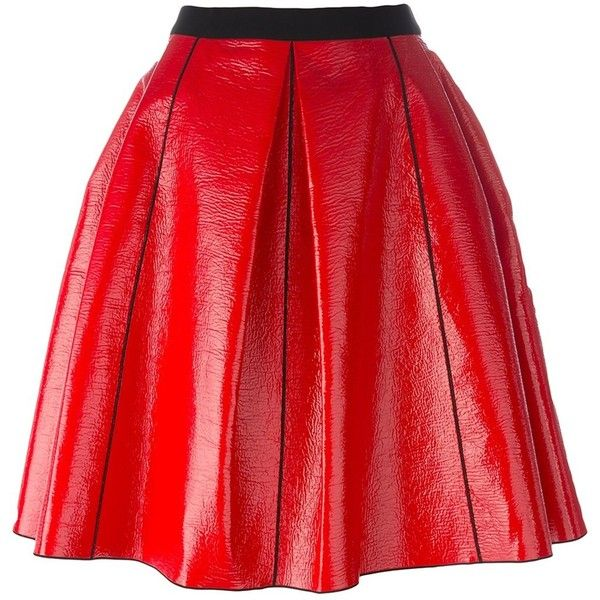 Marc Jacobs Pleather Circle Skirt ($485) ❤ liked on Polyvore featuring skirts, red, skater skirts, red circle skirt, circle skirt, high waisted short skirts and red skirt
