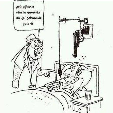 Ağrı kesici :)) @hazelicgiyim @hazelicgiyim @hazelicgiyim  #karikatur#komik#mizah#caps#hasta#doktor#hemsire#hastane#silah#karikaturzade