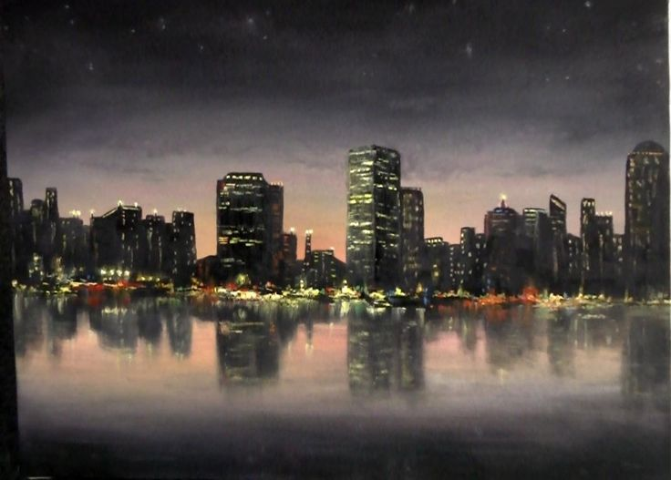 a calming nighttime cityscape painting for more