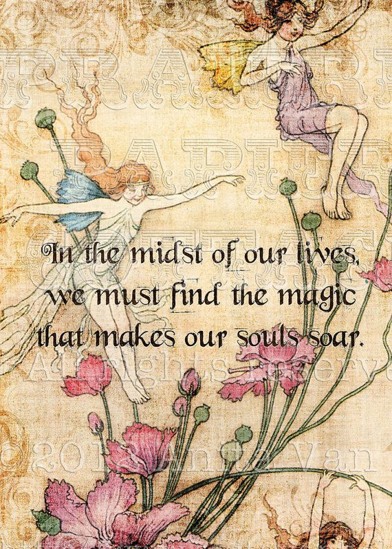 "This is a beautifully antiqued and distressed print; the inspirational quote says, ""In the midst of our lives, we must find the magic that makes our souls soar.""    *This set includes the following 3 sizes:     - 8.5 x 11"" (full sheet)  - greeting card size 3.75 x 5"" (four per sheet)  - ATC size (2.5"" x 3.5""; 6 per sheet) (1042) $4.00"