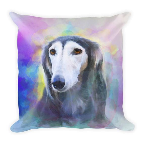 #Greyhound #Dog Colorful Portrait Square #Pillow