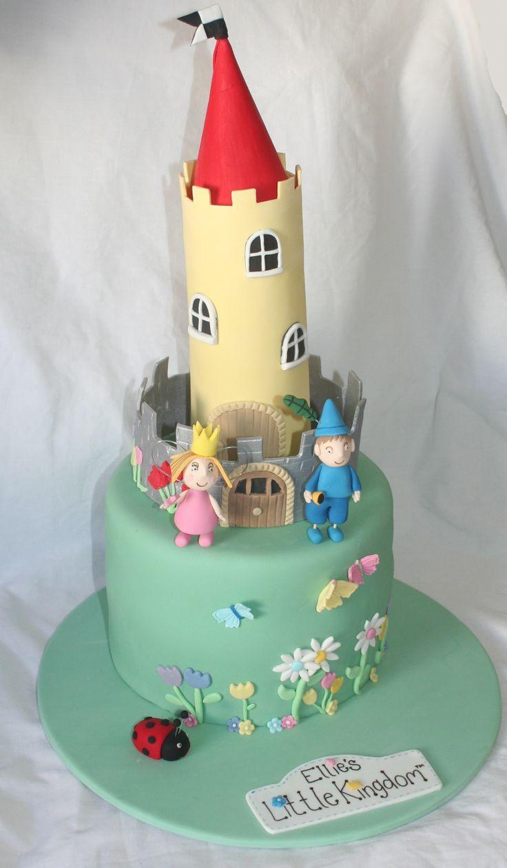 1 Tall Tier - 3 layer (Chocolate, Caramel, Vanilla Cake) - Ben & Holly's Little Kingdom Cake - Gumpaste Ben, Holly, Gaston & Castle