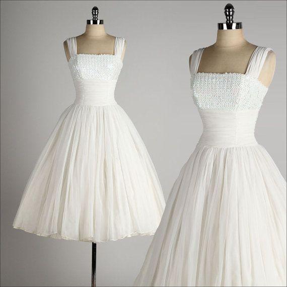 vintage 1950s dress . white chiffon . princess wedding . iridescent sequin bust . 3674