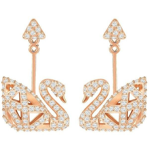 Facet Swan Pierced Earrings, White, Rose gold plating Jewelry (2.248.685 VND) ❤ liked on Polyvore featuring jewelry, earrings, asymmetrical earrings, rose gold plated earrings, sparkly earrings, faceted earrings and earring jewelry
