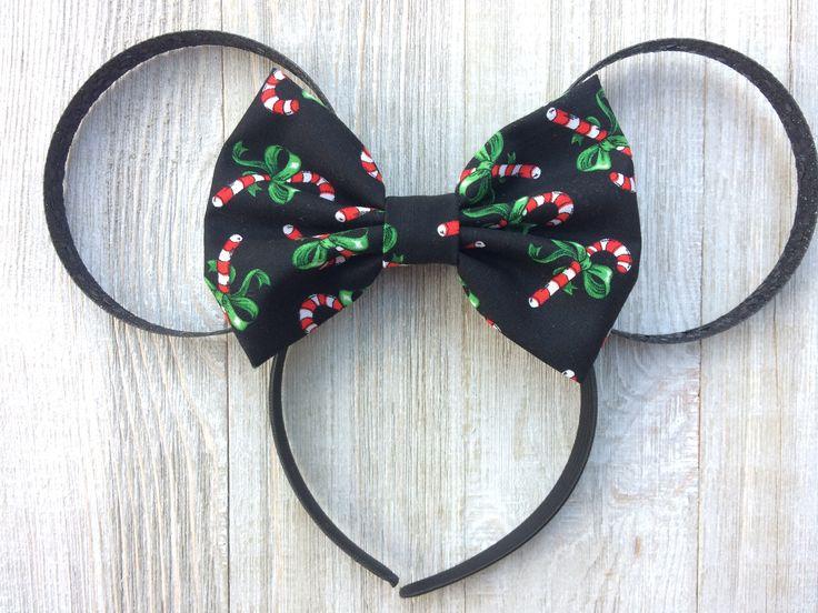 Candy Cane Mickey Mouse Bow Ear - Christmas Mickey Ears, Mickey Mouse Ears Adult, Mickey Mouse Ears Headband, Glitter Mickey Ears