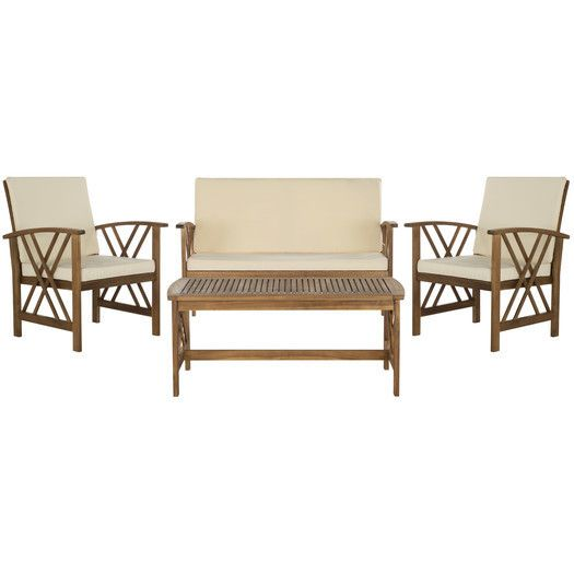 Safavieh Fontana 4 Piece Seating Group with Cushions ... on Safavieh Outdoor Living Fontana id=58664