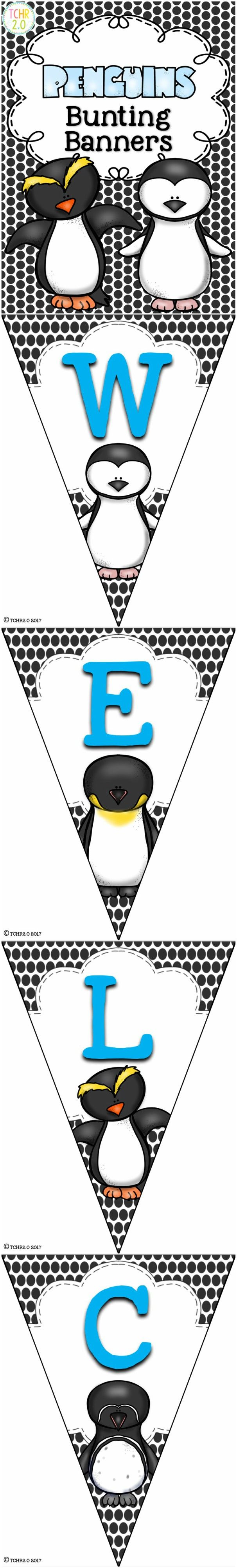 This product contains eight banners with a penguin theme: Welcome, Reading, Writing,  Math, Science , Social Studies, Spelling, Word Wall. Also included is a blank template in case you would like to make something else to match.