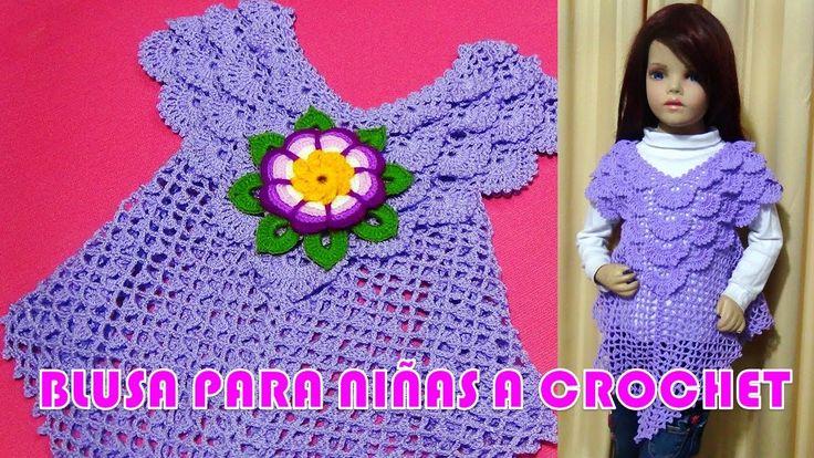 Blusa tejida a crochet para niñas de 3 a 5 años en punto pavo real paso ...