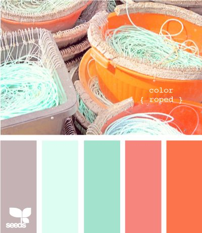 Mint, Gray, Coral