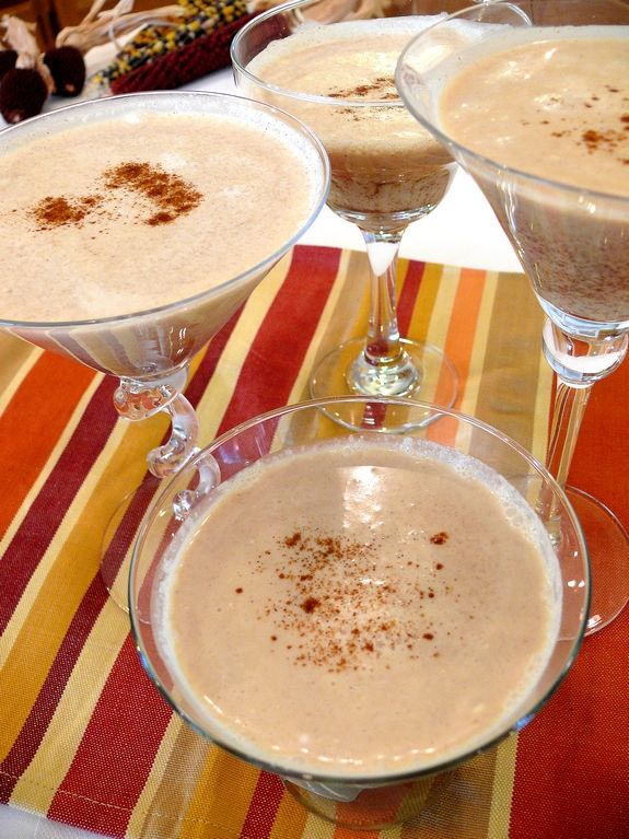 Pumpkin Pie Martini's... 1/4 cup vanilla vodka 1/4 cup Creme de Cacao 1/2 cup heavy cream 1-1/2 teaspoons pumpkin pie spice Fill a cocktail shaker halfway with ice. Add vodka, Creme de Cacao, heavy cream and pumpkin pie spice. Shake well. Strain the cocktail into glasses. Enjoy. Makes two drinks.