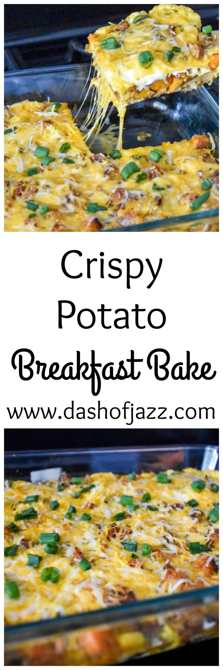 A cheesy, one-pan breakfast or brunch dish with bacon, eggs, and crispy potatoes! | Dash of Jazz