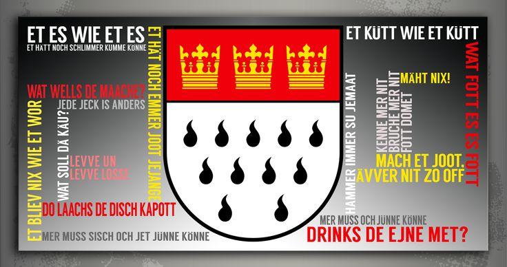 """Dieser aufhängefertige Druck des Kölschen Grundgesetzes zeigt auf, wie die Stadt am Rhein so tickt.Das Bild beinhaltet die essentiellen """"Wahrheiten"""" der Kölner wie z.B. """"Et es wie et es"""", """"Levve un Levve Losse"""" oder """"Wat fott es, es fott"""". Aufgelockert wird das Bild mit dem zentral positionierten Kölner Wappen.  Köln lässt jedes Herz schneller schlagen. Auf Wunsch kann das Bild natürlich durch das eine oder andere Extra als Wasserzeichen im Hintergrund ergänzt werden..."""