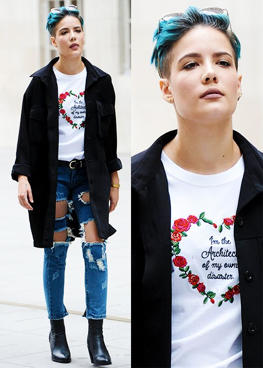 Halsey has some great outfits that mix comfort with sophisticated outerwear// FINNA DIY EMBROIDER THAT SHIRT <3