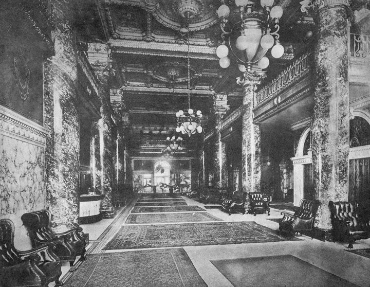 The grand lobby of the Alexandria Hotel in Los Angeles around 1907 or so.  (LAPL)