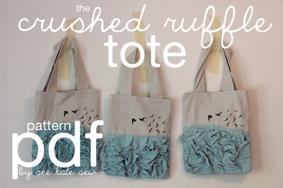 how to sew a tote bag with lining and pockets | The crushed ruffle tote has instructions for this fully lined tote bag ...