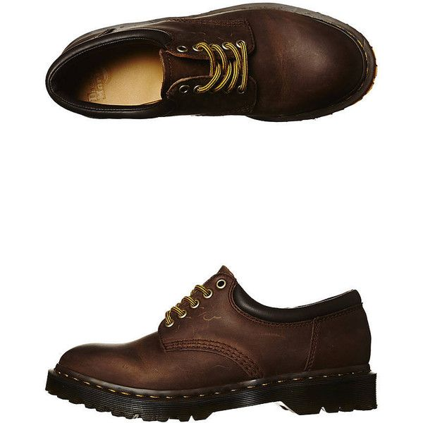 Dr. Martens Womens Classics 8053 Padded Collar Shoe Women's Shoes... ($60) ❤ liked on Polyvore featuring shoes, & - clothing - shoes, aztec, leather flats, flat shoes, aztec shoes, brown flats and brown leather shoes