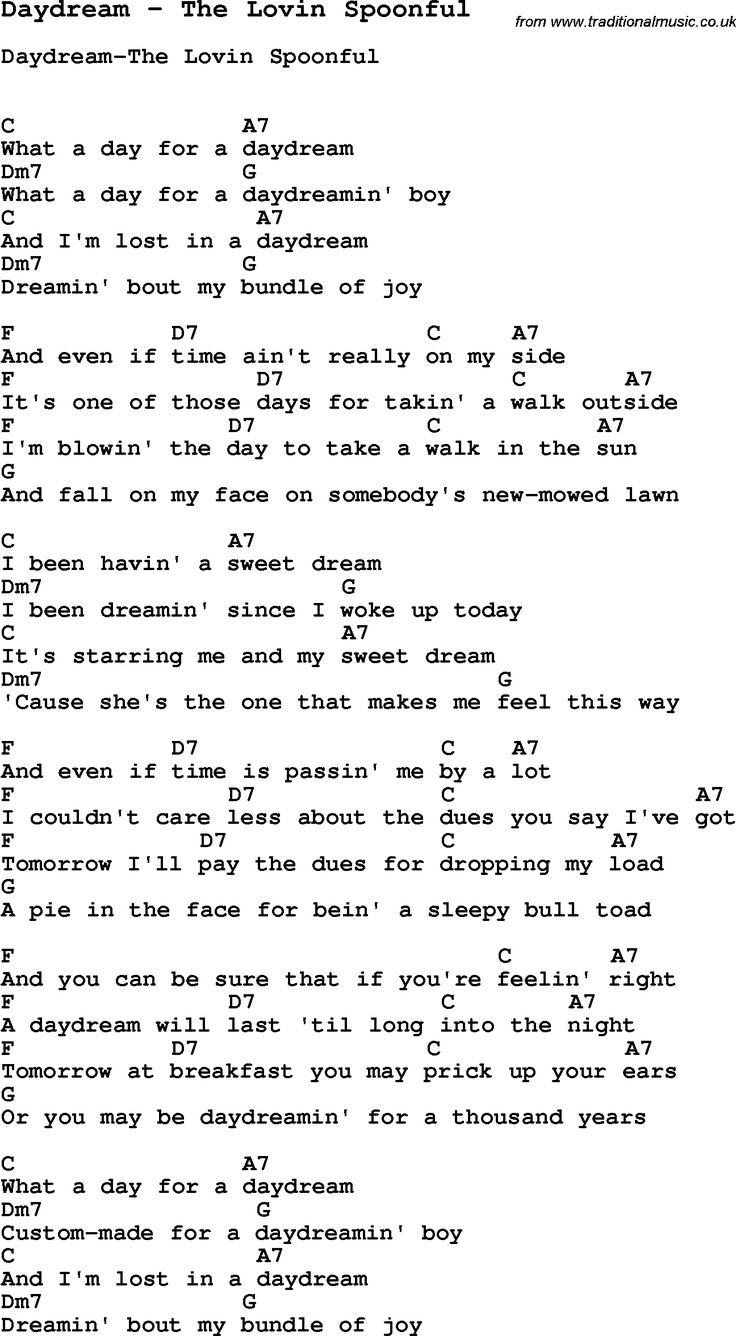 Song Daydream by The Lovin Spoonful, with lyrics for vocal performance and accompaniment chords ...